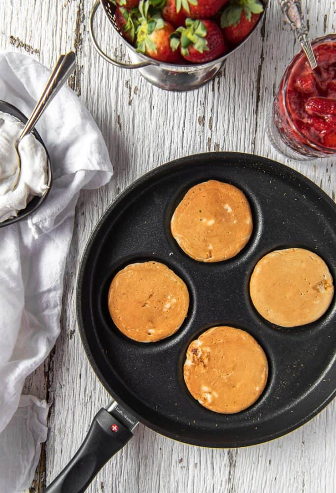 Cooked Cheesecake Pancakes in a Swiss Diamond Swedish Pancake Pan