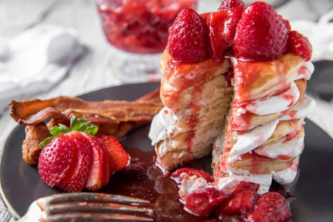 Strawberry Cheesecake Pancakes on a plate