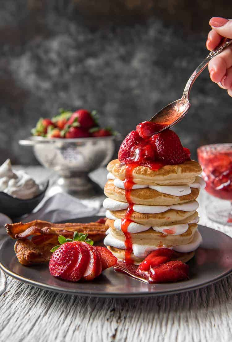 Strawberry Cheesecake Pancakes #SpringSweetsWeek
