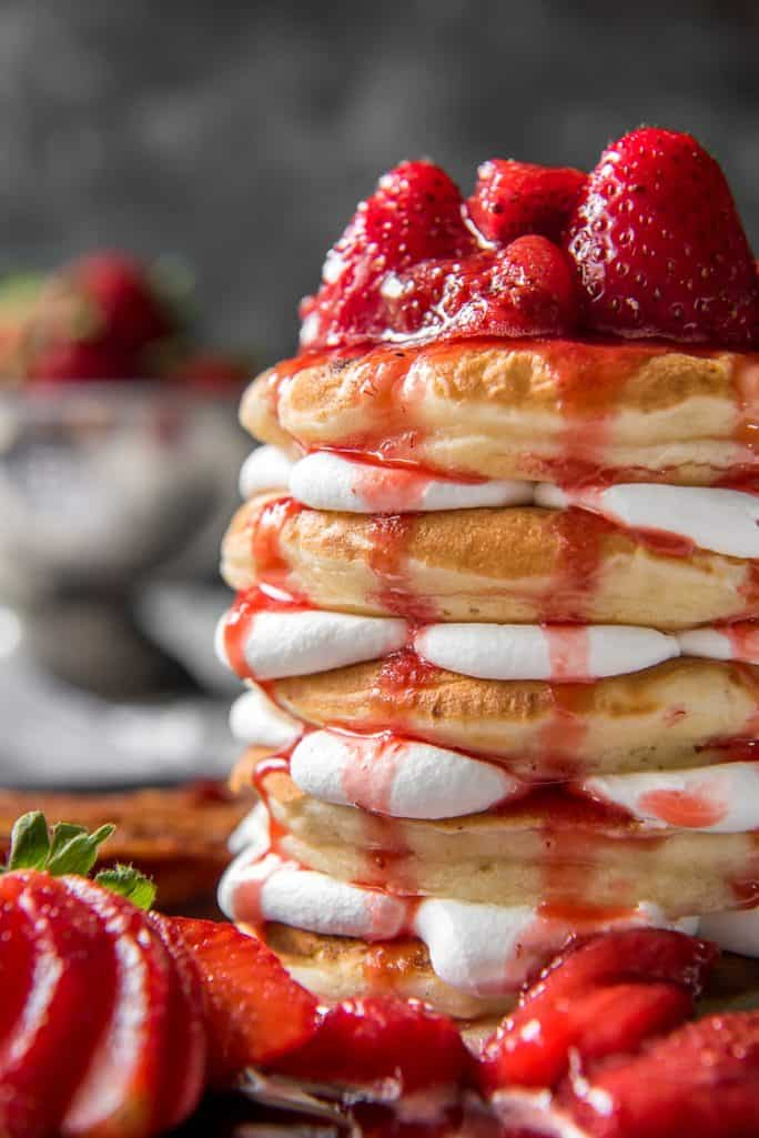 Closeup of Strawberry Cheesecake Pancakes