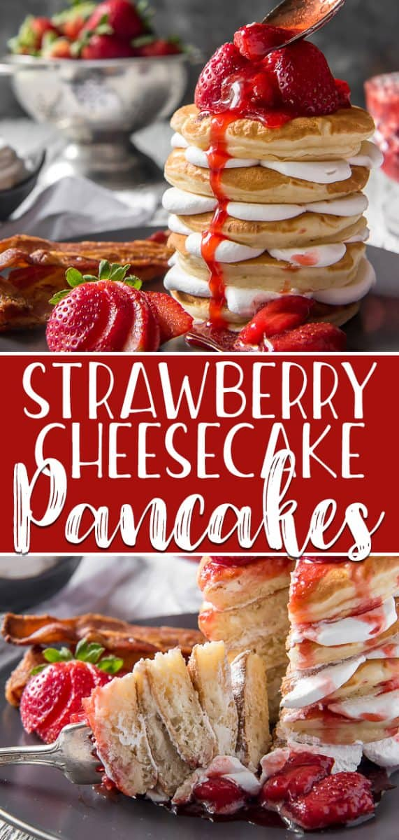 Why not have breakfast and dessert on one plate with a batch of these Strawberry Cheesecake Pancakes! Fluffy cream cheese-stuffed pancakes, whipped cream, and homemade strawberry sauce - they totally blow any restaurant version out of the water with their decadence!