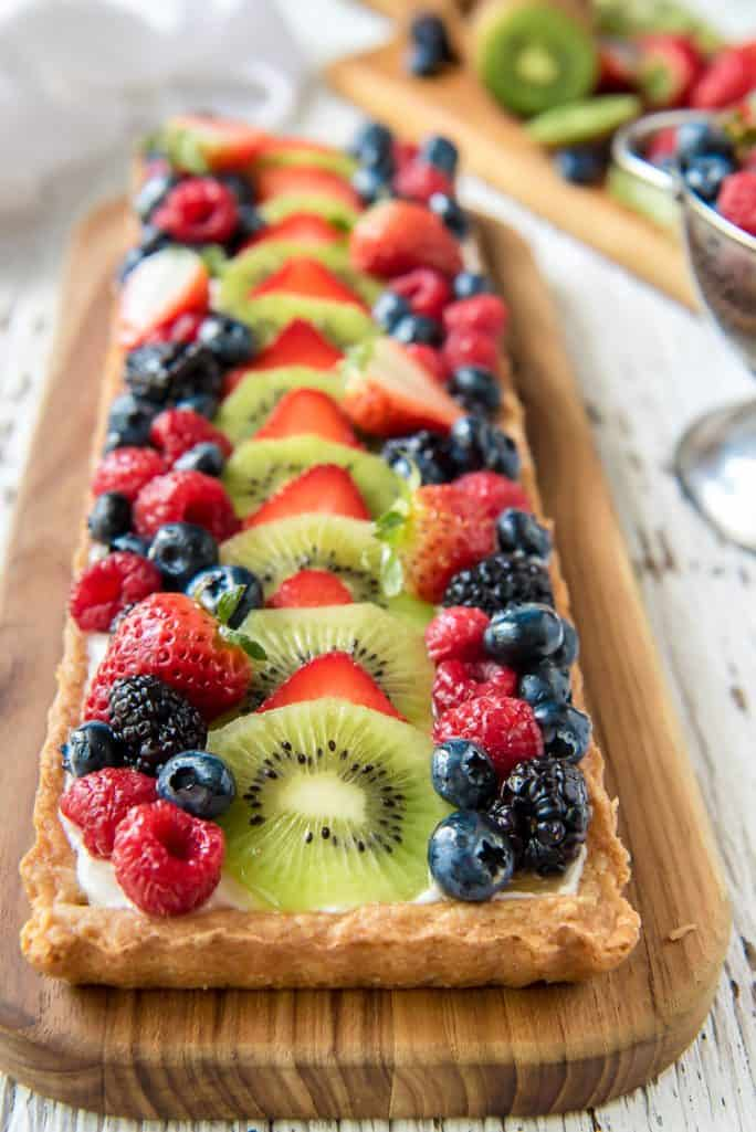 Whipped Yogurt Fruit Tart with fresh fruit