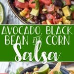 Spice up your fiesta with this colorfully delicious Avocado, Black Bean and Corn Salsa! Diced tomato, onion, and jalapeno come together with with fresh corn, black beans, and ripe avocado, with lots of lime and cilantro to round out the classic Mexican flavors.