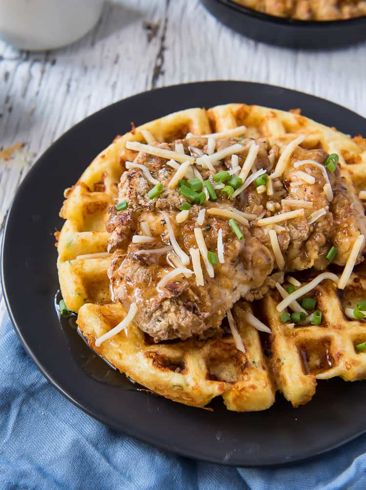 Cheesy Hot Chicken And Waffles Brunchweek The Crumby Kitchen