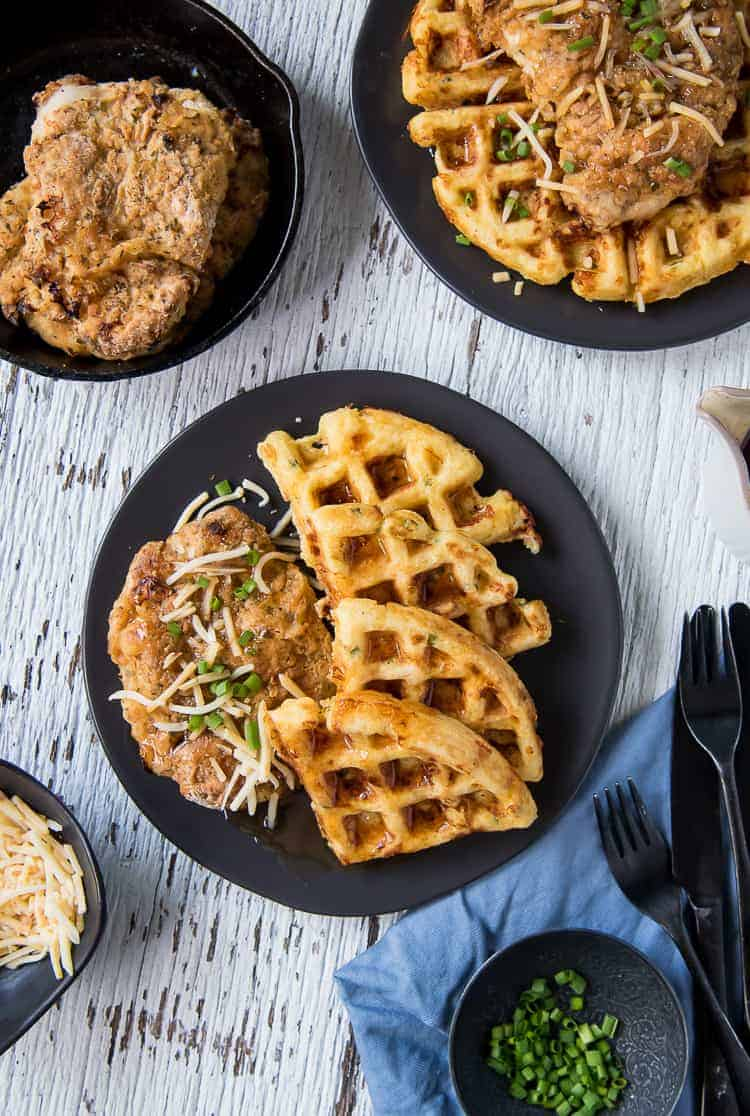 Cheesy Hot Chicken and Waffles #BrunchWeek
