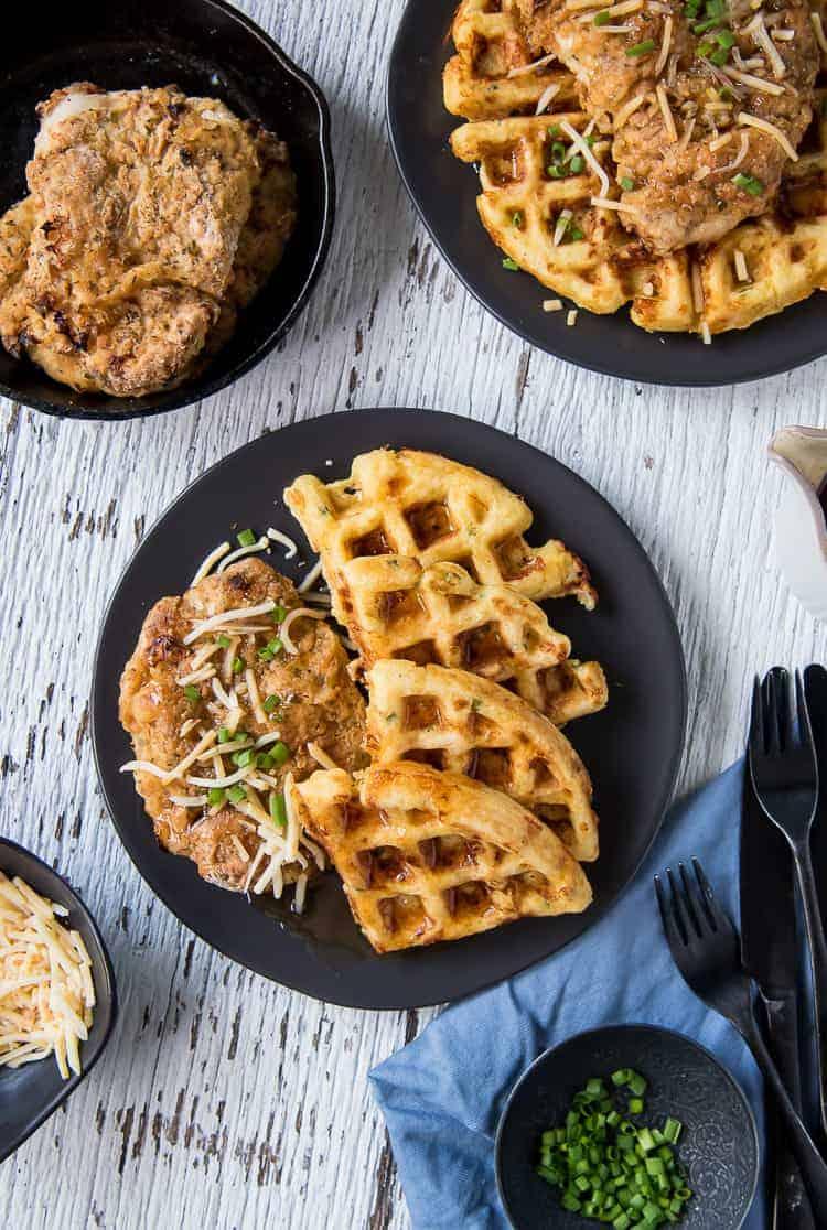Cheesy Hot Chicken and Waffles #BrunchWeek