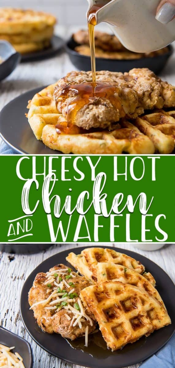 This Cheesy Hot Chicken and Waffles recipe is a spicy twist on an American classic! Southern fried chicken breasts are served over habanero-cheddar chive cornbread waffles, then drizzled with cayenne maple syrup for a surprisingly spicy kick!