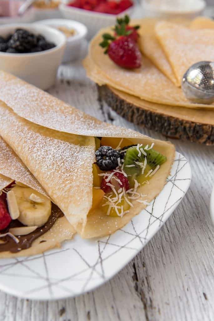 Crepes on a plate from a Crepe Bar