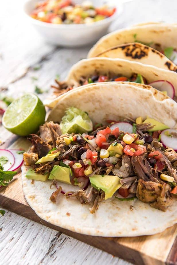 Closeup of Instant Pot Carnitas Tacos