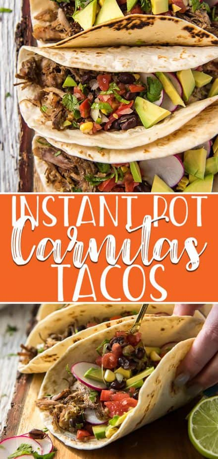 Taco Tuesday doesn't get much better than quick & easy Instant Pot Carnitas Tacos! Flavorful Mexican garlic and citrus-infused pulled pork comes together about an hour and makes some of the best tacos you'll ever have!