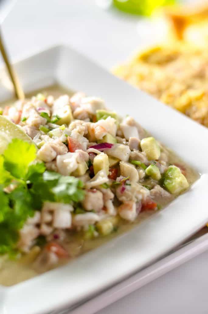 Margarita Ceviche recipe in a bowl with a spoon in it