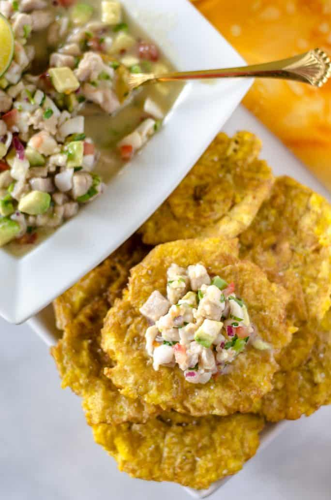 Top view of Margarita Ceviche on a fried plantain