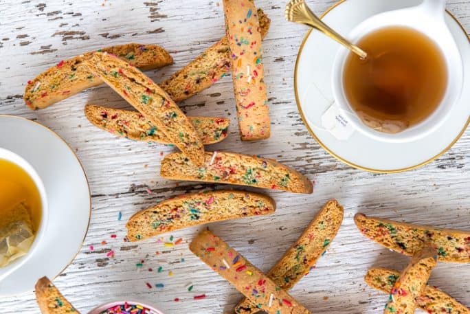Rainbow biscotti and cups of tea