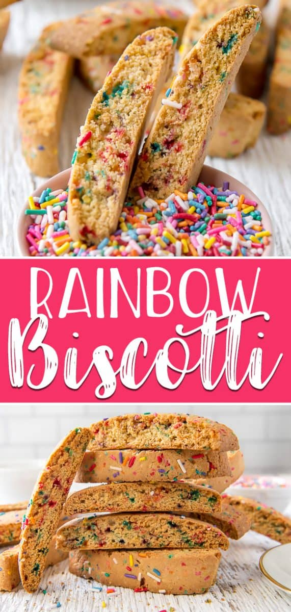 Turn an ordinary Italian cookie into a fun & happy brunch conversation treat with these Rainbow Biscotti! Crunchy, twice-baked, and perfect for coffee- and tea-dipping, these funfetti cookies are full of sprinkles & made with love!