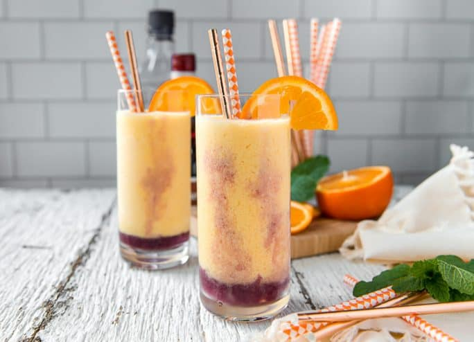 Two glasses of Triple Orange Julius with vodka and orange liqueur