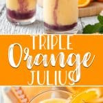 Brighten up your weekend with a fun Triple Orange Julius! Made with or without alcohol, this pretty orange creamsicle-flavored drink can be made in batches for a crowd, and may even permanently replace your favorite brunch cocktail!