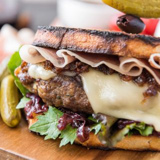 Closeup of The Charcuterie Burger recipe