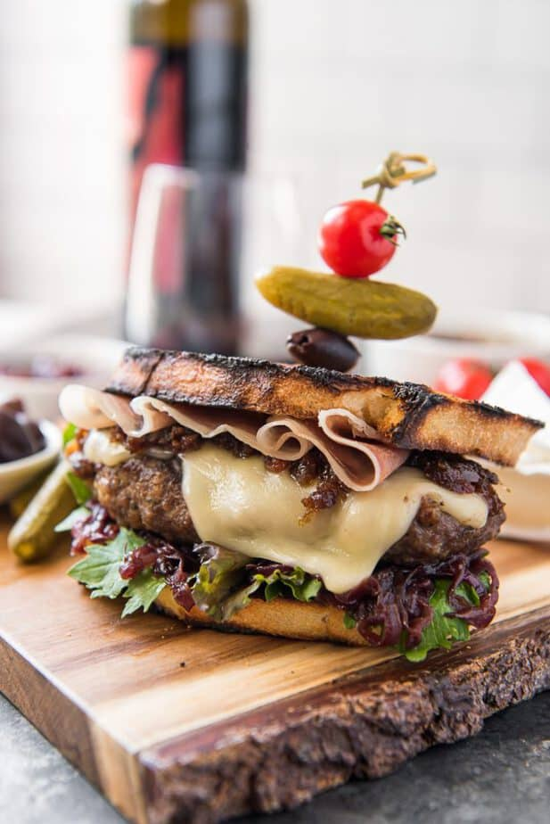 The Charcuterie Burger recipe, with melted brie and bacon jam
