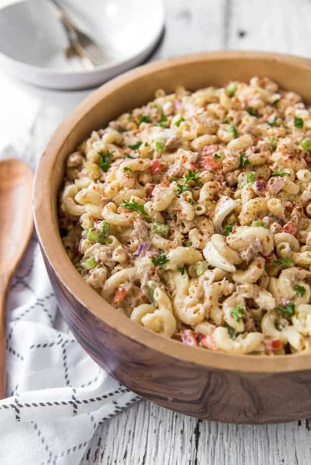 Tuna Macaroni Salad is a wooden bowl