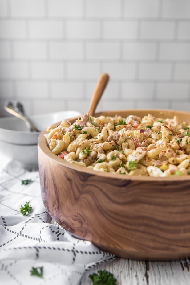 Tuna Macaroni Salad in a wooden bowl