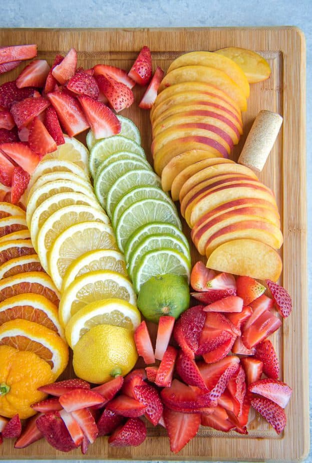 Sliced fruit for a white sangria recipe