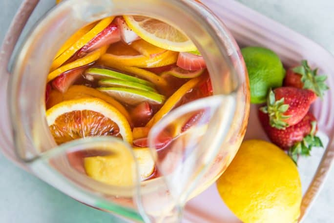 A pitcher of Easy White Sangria