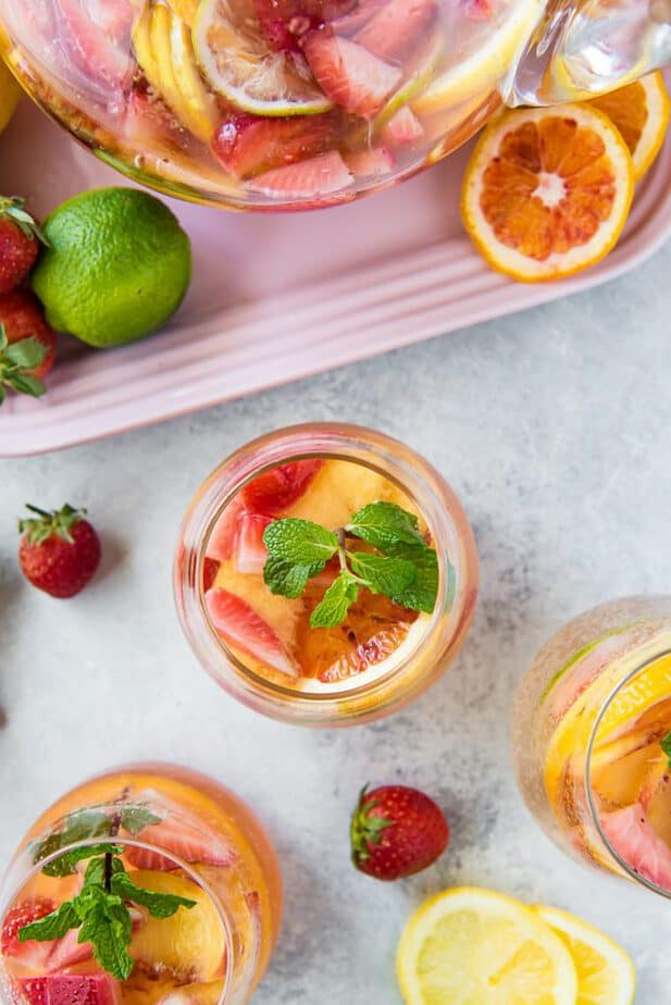 A tablescape of glasses of White Wine Sangria