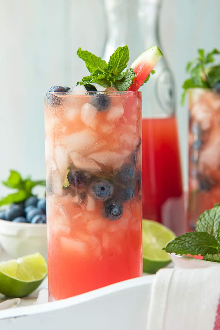 A glass of blueberry watermelon agua fresca