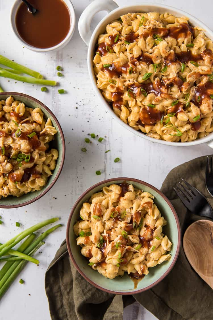 BBQ chicken mac and cheese in a bowl