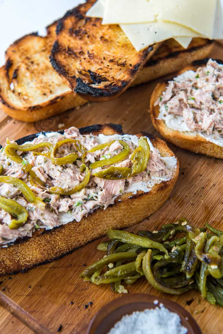 A tuna melt with roasted jalapenos