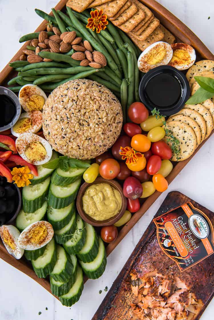 A Salmon Cheese Ball on a crudites platter