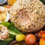A Salmon Cheese Ball on a crudites platter