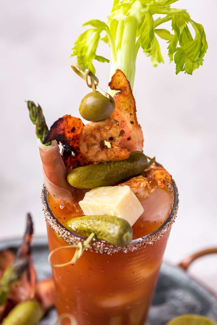 A garnished Bloody Mary cocktail