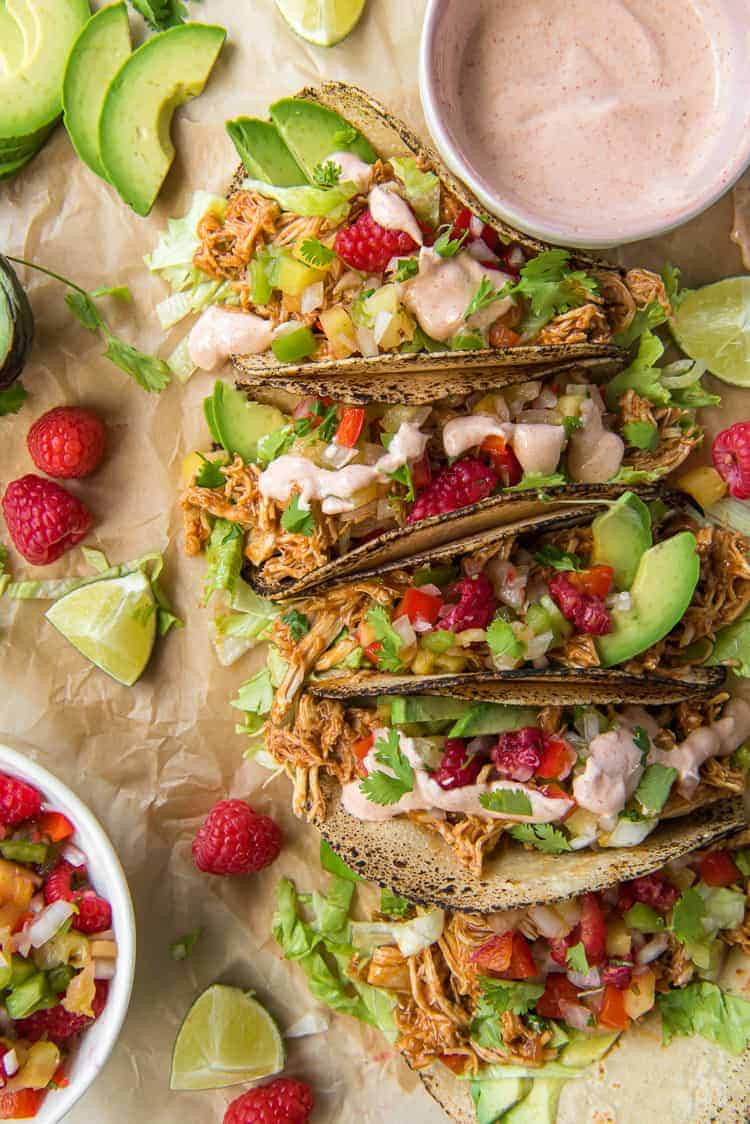 Raspberry Chipotle Slow Cooker Chicken Tacos
