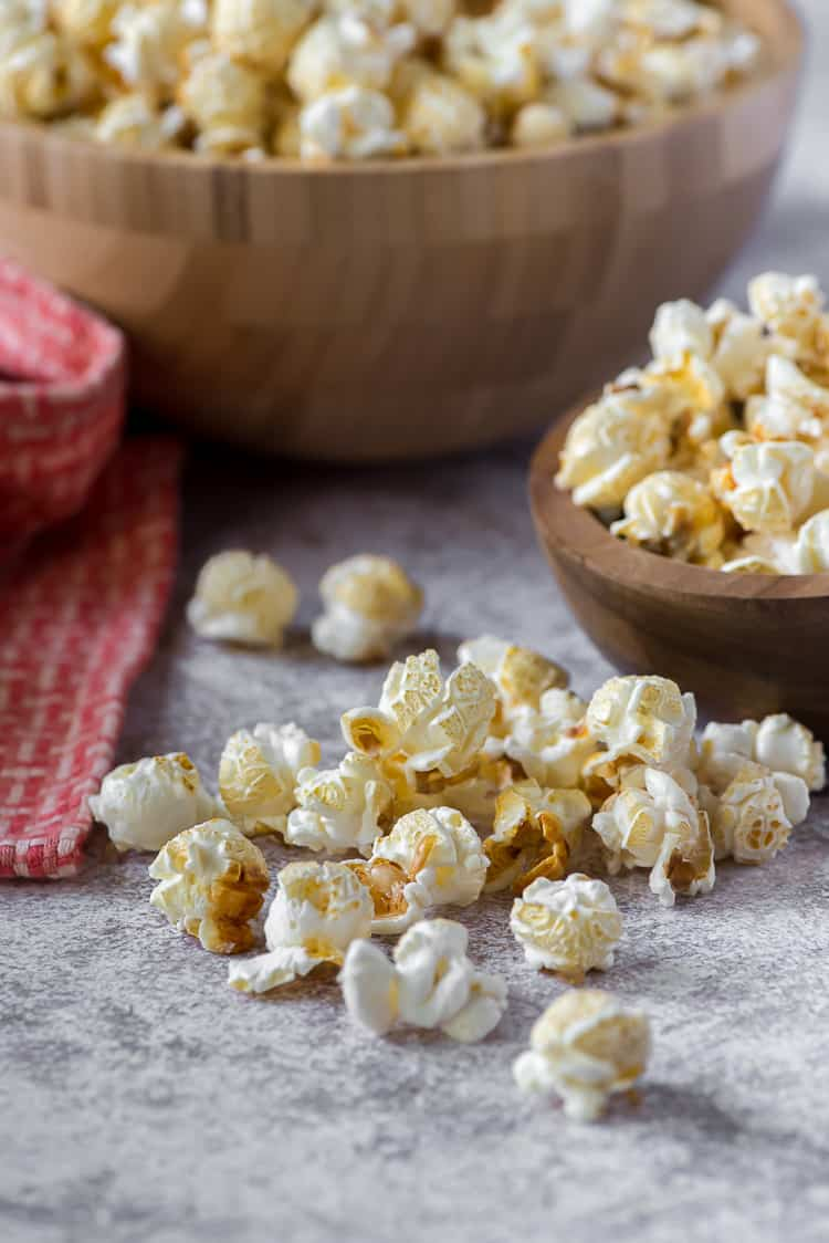 homemade kettle corn scattered on a table