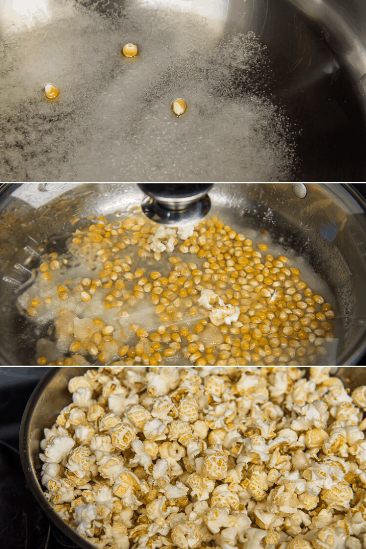 process of popping kettle corn on the stovetop